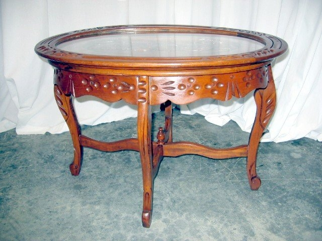 Nice Antique Glass Top Walnut Tea Serving Coffee Table For Sale good with regard to Vintage Glass Top Coffee Tables (Image 18 of 20)
