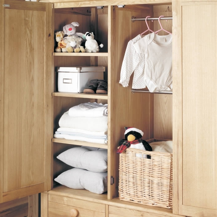 Oak Wardrobe With Drawers Childrens Double Baumhaus Amelie good within Double Rail Childrens Wardrobes (Image 3 of 30)