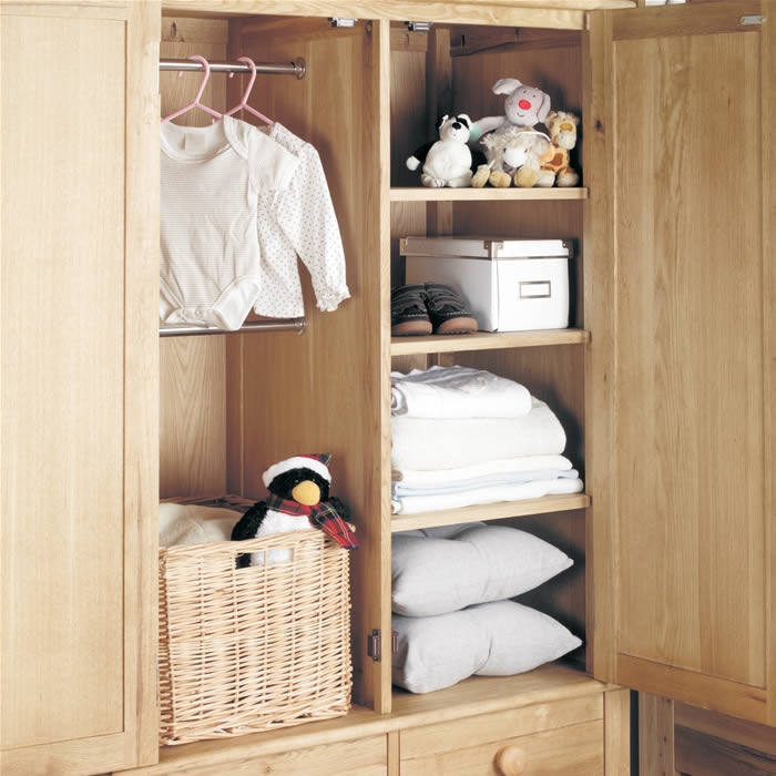 Oak Wardrobe With Drawers Childrens Double Baumhaus Amelie well inside Childrens Double Rail Wardrobes (Image 3 of 20)