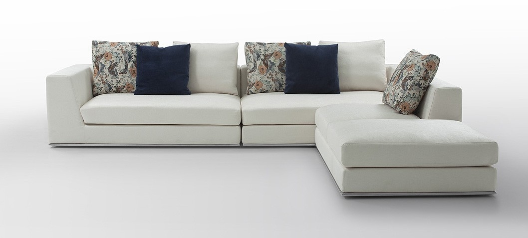 Odessa Modern White Fabric Sectional Sofa good throughout Cloth Sectional Sofas (Image 12 of 20)