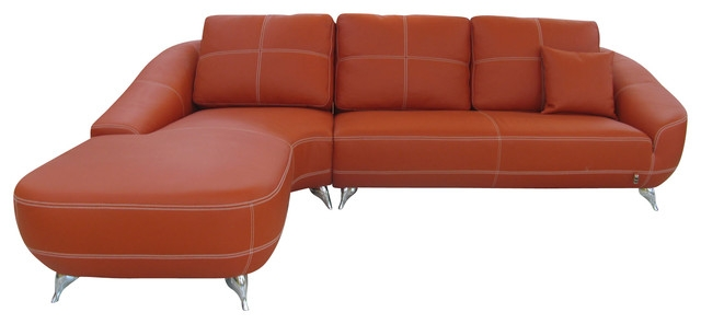Orange Lucy Leather Sectional Sofa Contemporary Sectional certainly in Contemporary Black Leather Sectional Sofa Left Side Chaise (Image 17 of 20)