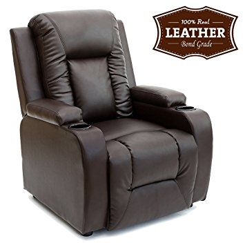 Oscar Leather Recliner W Drink Holders Armchair Sofa Chair very well in Sofa Chair Recliner (Image 15 of 20)