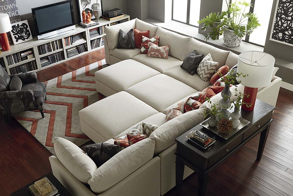 Ottoman Beckham Living Room Bassett Furniture certainly with Bassett Sectional Sofa (Image 17 of 20)