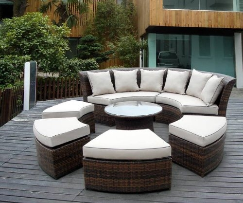 Outdoor Patio Wicker Furniture 7pc Round Couch Set Round Couch perfectly in Cheap Patio Sofas (Image 14 of 20)