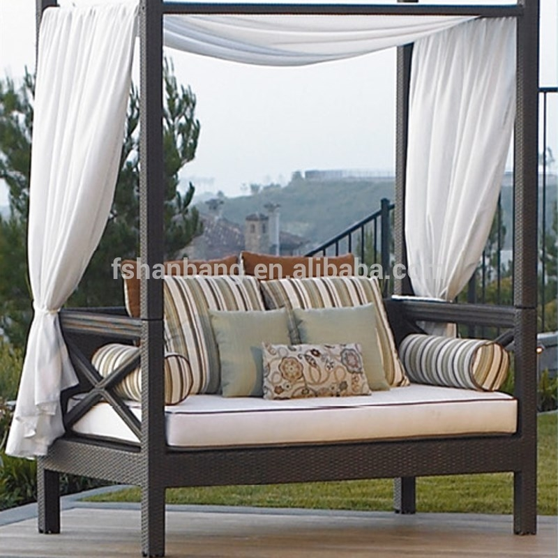 Outdoor Patio Wicker Rattan Sunbed Daybed Furniture Lounger Sofa well with Outdoor Sofas With Canopy (Image 18 of 20)
