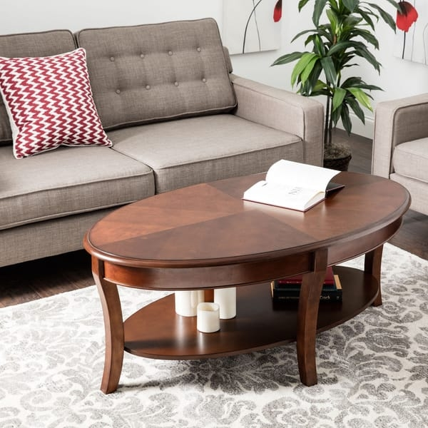 Oval Walnut Coffee Table Free Shipping Today Overstock perfectly throughout Oval Walnut Coffee Tables (Image 13 of 20)