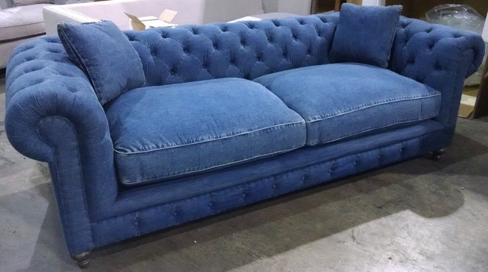 Oxford Sofa 100 Blue Denim Cotton Down Cushions 8 Way Hand Tied clearly pertaining to Oxford Sofas (Image 13 of 20)