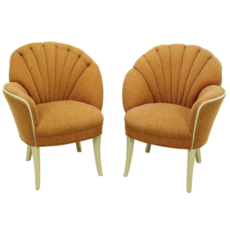Pair 1930s Asymmetrical Art Deco Shell Back Chairs 1930s Art perfectly with Art Deco Sofa And Chairs (Image 16 of 20)