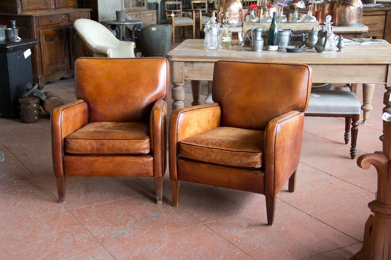 Pair Of Vintage French Leather Chairs At 1stdibs very well pertaining to Vintage Leather Armchairs (Image 14 of 20)