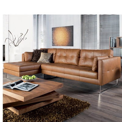 Paris Leather Left Hand Corner Sofa Tan Dwell well intended for Corner Sofa Leather (Image 14 of 20)