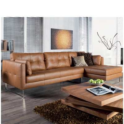 Paris Leather Right Hand Corner Sofa Tan Dwell nicely for Corner Sofa Leather (Image 15 of 20)