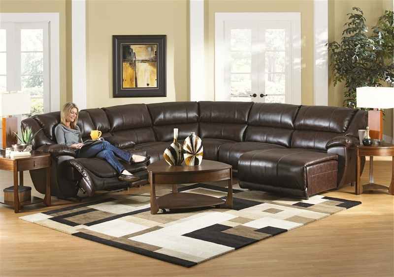 Park Avenue 6 Piece Reclining Sectional In Java Leather certainly throughout 6 Piece Leather Sectional Sofa (Image 7 of 20)