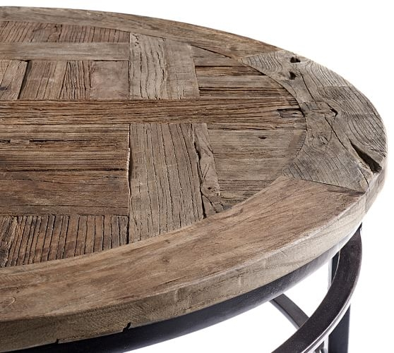 Good Parquet Reclaimed Wood Round Coffee Table Pottery Barn Good Intended For Oversized  Round Coffee Tables (