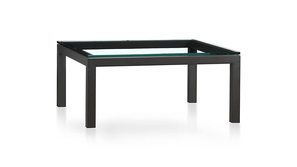 Parsons Clear Glass Top Dark Steel Base 36x36 Square Coffee Table nicely within Simple Glass Coffee Tables (Image 12 of 20)