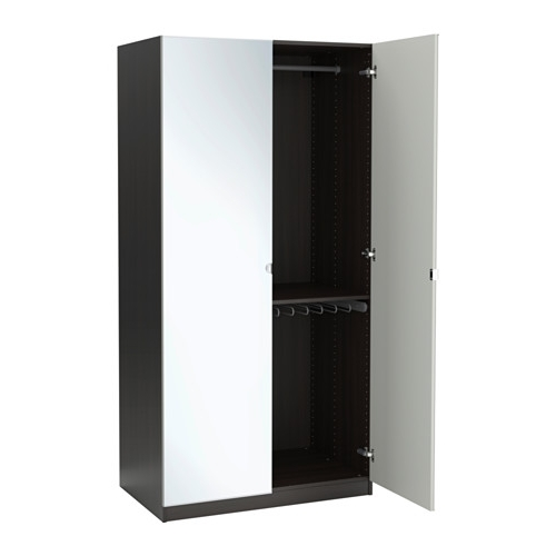 Pax Wardrobe Black Brownvikedal Mirror Glass 100x60x201 Cm Ikea definitely inside Double Rail Wardrobes Ikea (Image 14 of 30)