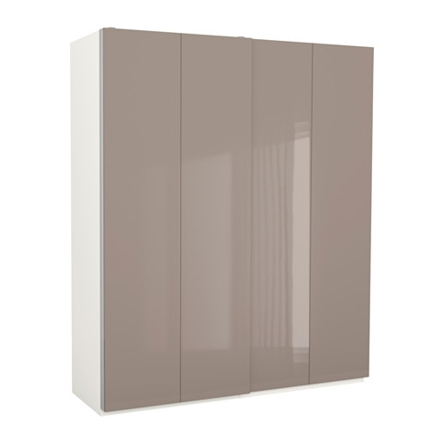 Pax Wardrobe Whitehasvik High Gloss Dark Beige 200x66x236 Cm Ikea definitely throughout Dark Wood Wardrobes Ikea (Image 28 of 30)