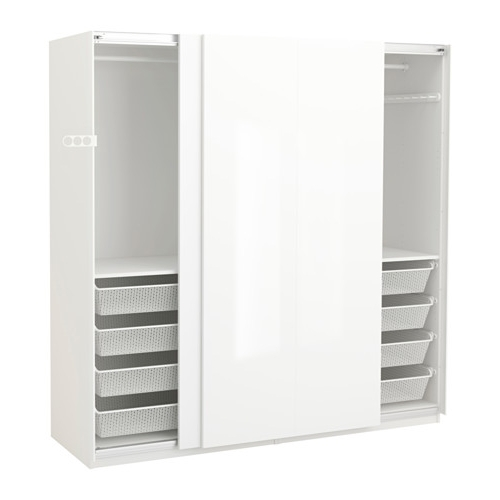 Pax Wardrobe Whitehasvik High Glosswhite 200x66x201 Cm Ikea well for Double Rail Wardrobes Ikea (Image 27 of 30)