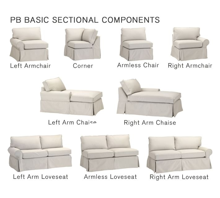 Pb Basic Sectional Component Slipcovers Pottery Barn Certainly Regarding Slipcover For Leather Sectional Sofas (View 13 of 20)