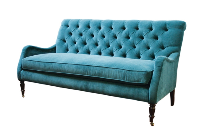 Peacock Blue Velvet Tufted Sofa 495 Available In The New York good with regard to Blue Tufted Sofas (Image 16 of 20)