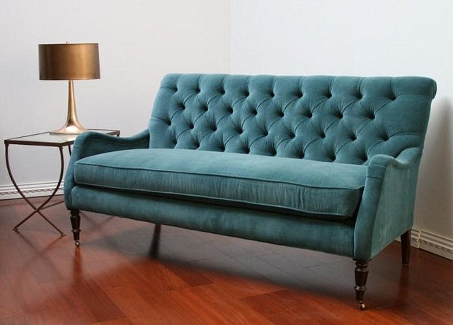 Peacock Blue Velvet Tufted Sofa Velvet Tufted Sofa Tufted Sofa certainly with Blue Tufted Sofas (Image 18 of 20)