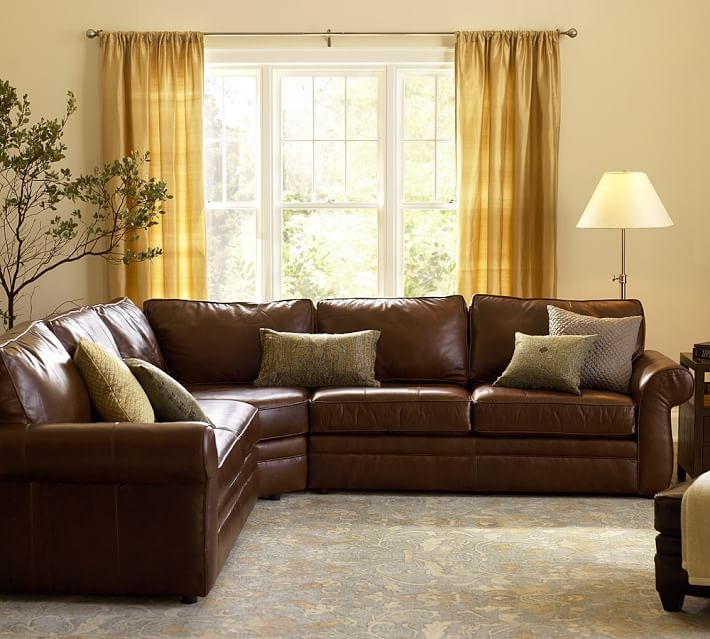 Pearce Leather 3 Piece L Shape Sectional With Wedge Pottery Barn most certainly regarding Leather L Shaped Sectional Sofas (Image 18 of 20)