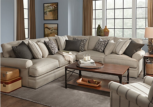 Picture Of Cindy Crawford Home Lincoln Square Beige 4 Pc Sectional nicely regarding Cindy Crawford Home Sectional Sofa (Image 10 of 20)