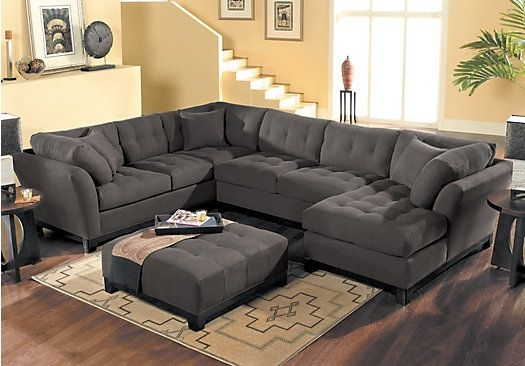 Picture Of Cindy Crawford Home Metropolis Slate Right 4 Pc effectively for Cindy Crawford Home Sectional Sofa (Image 11 of 20)