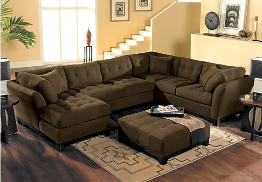 Picture Of Cindy Crawford Metropolis Espresso 4pc Sectional Living nicely intended for Cindy Crawford Home Sectional Sofa (Image 15 of 20)