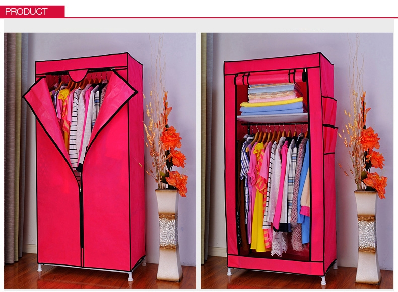 Portable Double Canvas Wardrobe Rail Clothes Storage Bedroom properly with regard to Double Canvas Wardrobe Rail Clothes Storage Cupboard (Image 9 of 20)