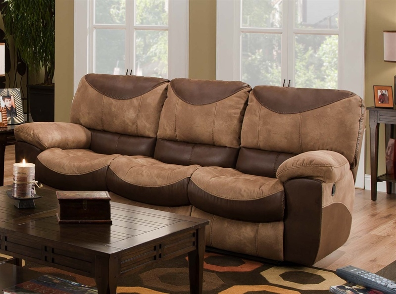 Portman Reclining Sofa In Two Tone Chocolate And Saddle Fabric perfectly throughout Two Tone Sofas (Image 17 of 20)
