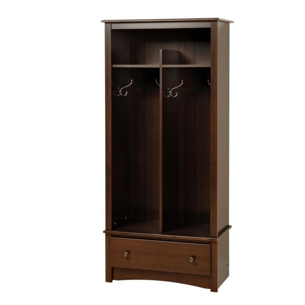 Prepac Fremont Espresso Hall Tree Eel 3369 K The Home Depot effectively inside Double Wardrobe With Drawers And Shelves (Image 22 of 30)