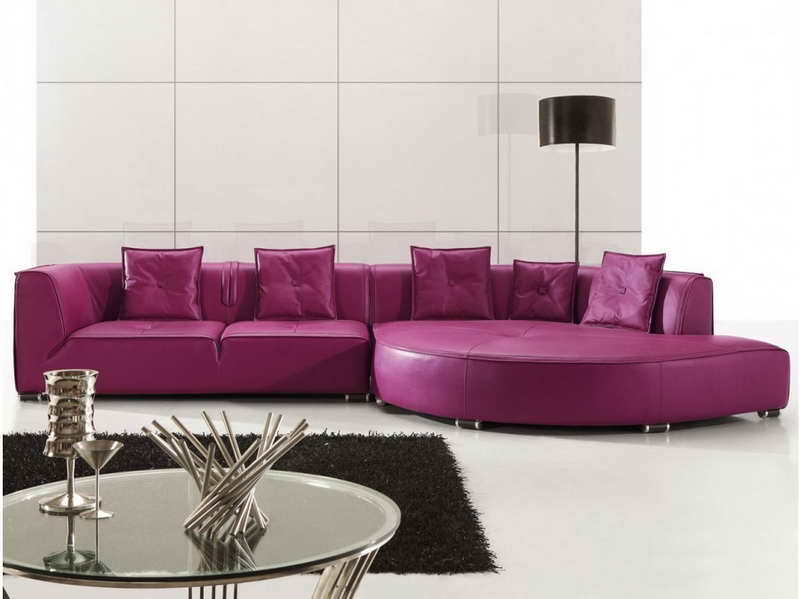 Purple Leather Sectional Sofas For Your Room With Black Carpet most certainly throughout Eggplant Sectional Sofa (Image 9 of 20)
