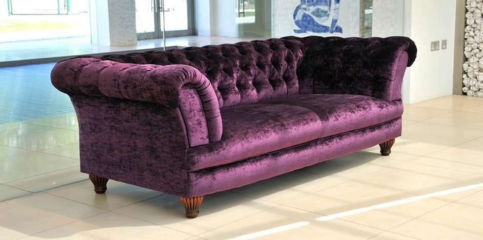 Purple Velvet Sofas Thesofa effectively regarding Velvet Purple Sofas (Image 16 of 20)