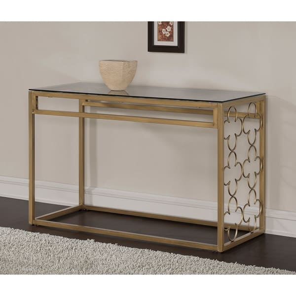 Quatrefoil Goldtone Metal And Glass Sofa Table Free Shipping good for Metal Glass Sofa Tables (Image 18 of 20)