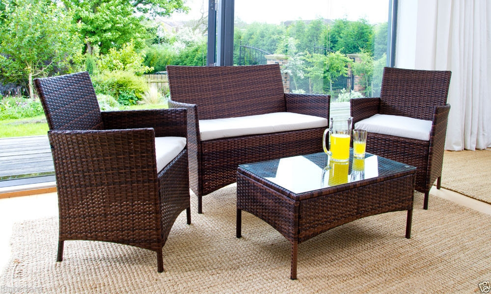 Rattan Patio Set Cheap Patio Brown Rectangle Vintage Rattan Patio Very Well Pertaining To Sofa Table With Chairs (View 13 of 20)