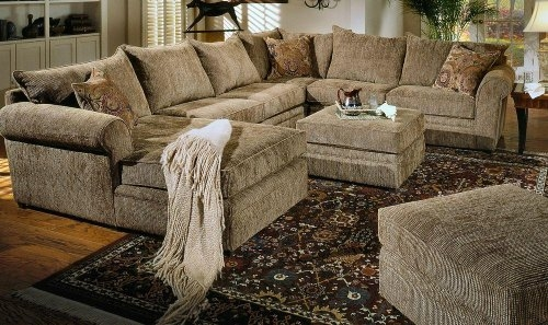 Reclining Leather Sectional Sofas Beige Chenille Fabric Westwood Good In Chenille And Leather Sectional Sofa (View 11 of 20)