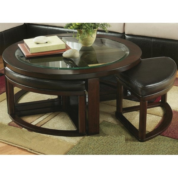 Red Barrel Studio Plumwood Coffee Table With Nested Stools clearly in Coffee Tables With Nesting Stools (Image 14 of 20)