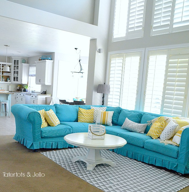 Remodelaholic 28 Ways To Bring New Life To An Old Sofa most certainly for Turquoise Sofa Covers (Image 14 of 20)