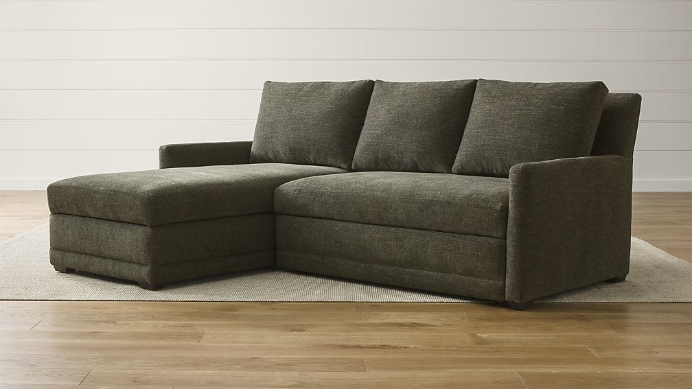 Reston 2 Piece Left Arm Chaise Sleeper Sectional Sofa Crate And nicely with regard to Sectional Sleeper Sofas With Chaise (Image 18 of 20)