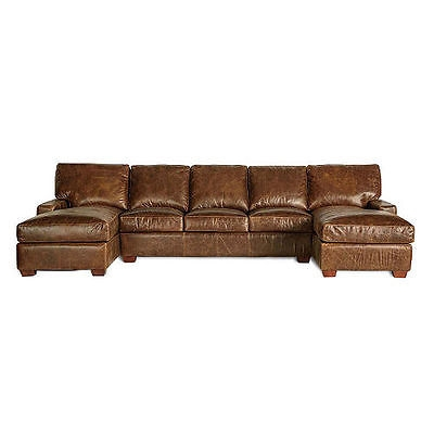 Restoration Vintage Leather Craftsman Full Grain Leather Sectional effectively regarding Craftsman Sectional Sofa (Image 17 of 20)
