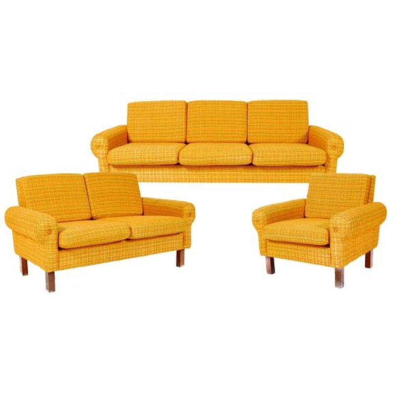 Retro Sofa Set 3 Pieces Sofa Love Seat Chair well in Retro Sofas and Chairs (Image 16 of 20)