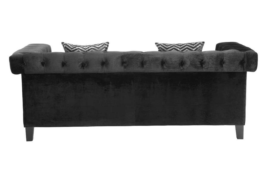 Reventlow Collection 505818 Black Velvet Sofa With Nailhead Trim nicely inside Black Velvet Sofas (Image 15 of 20)
