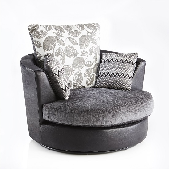Revive Swivel Sofa Chair In Black Pu And Grey Fabric 28029 nicely throughout Spinning Sofa Chairs (Image 10 of 20)