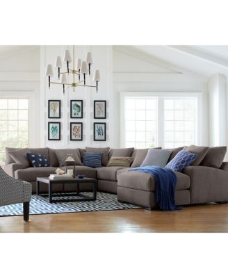 Rhyder 3 Pc L Shaped Fabric Sectional Created For Macys Nicely Throughout L Shaped Fabric Sofas (View 14 of 20)