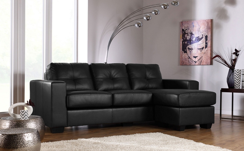 Rio Black Leather Corner Sofa Only 49999 Furniture Choice properly in Corner Sofa Leather (Image 16 of 20)