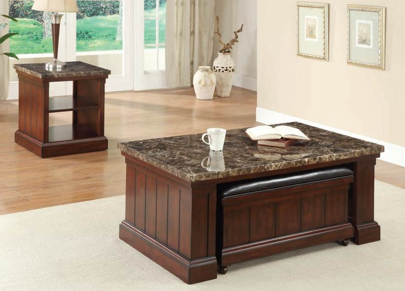 Rodrik Dark Faux Marble Top Coffeeend Table Set 80313 Set Certainly With Regard To Cherry Wood Coffee Table Sets (View 20 of 20)
