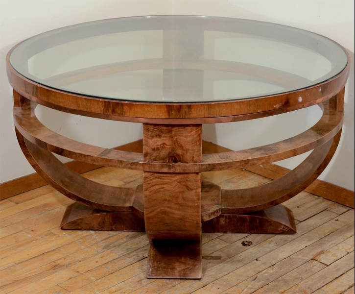 Round Art Deco French Glass Top Coffee Table With Burled Finish definitely regarding Art Coffee Tables (Image 19 of 20)