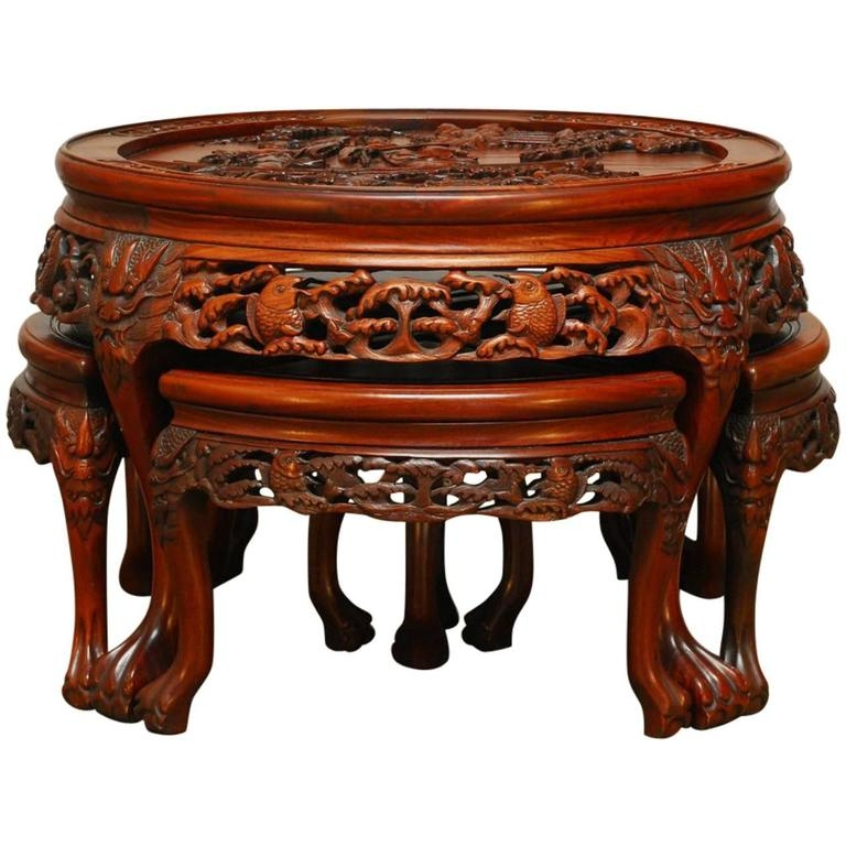 Round Chinese Carved Rosewood Tea Table With Nesting Stools For clearly in Coffee Tables With Nesting Stools (Image 16 of 20)