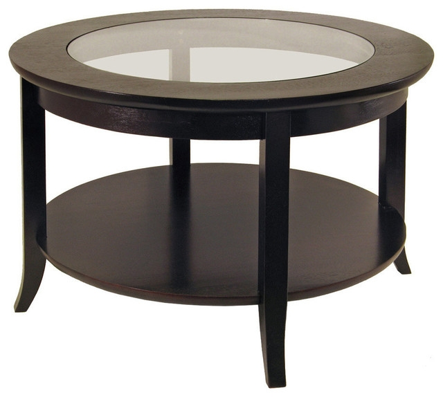Round Glass Coffee Table In Espresso Wood Transitional Coffee well with regard to Round Glass and Wood Coffee Tables (Image 12 of 20)