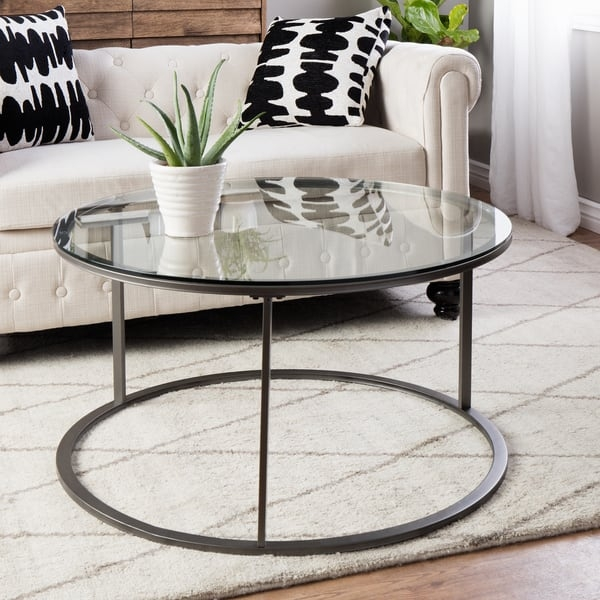 Round Glass Top Metal Coffee Table Free Shipping Today good regarding Metal And Glass Coffee Tables (Image 18 of 20)